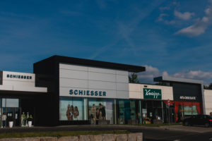Outlet center in Rottendorf near Würzburg during the times of Corona Schiesser and Kneipp