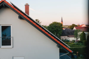 Solar systems over the roofs of Rottendorf in Lower Franconia