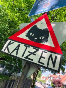 Home-made cat street sign in Munich