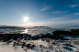 Thingvellir National Park view of snow capped mountains in Iceland