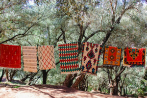 Berber carpets in Morocco in Ouzoud on hanging line