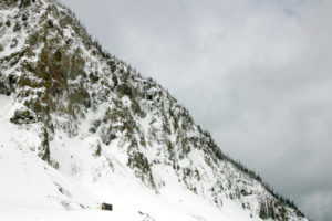 Winterliche Umgebung in Yellowstone Nationalpark mit schneebedeckten Hügeln und Bäumen