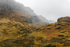 Glen Coe footpath valley in Scotland