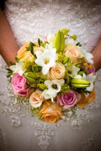 Detail, wedding, bride with bridal bouquet