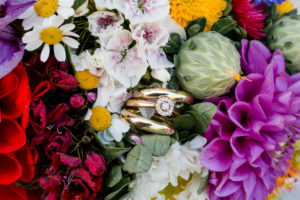 Detail, bridal bouquet with wedding rings