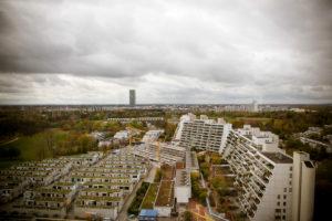 Luftaufnahme vom Olympiapark über Olympiadorf in München