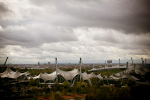 Aerial view from the Olympic Park over the Olympic Stadium / tent roof in Munich