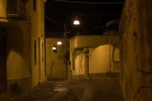 Nightly streets and alleys of Orosei in Sardinia, Italy