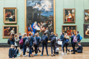 England, London, Trafalgar Square, National Gallery, Visiting Group of School Children