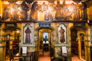 England, London, The City of London, The Black Friar Pub, Interior View with Henry Poole's Art Nouveau Reliefs
