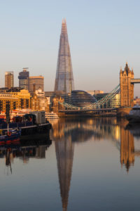 England, London, Southwark, The Shard and Tower Bridge