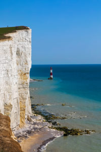 England, East Sussex, Eastbourne, South Downs National Park, The Seven Sisters, Beachy Head Lighthouse