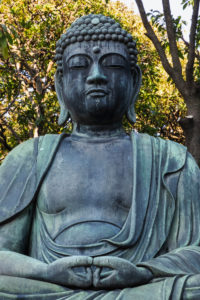 Japan, Honshu, Tokyo, Asakusa, Sensoji Temple, Meditating Buddha Statue