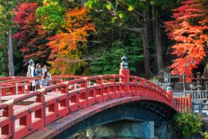 Japan, Honshu, Tochigi Prefecture, Nikko, Shinkyo Bridge and River Daiya