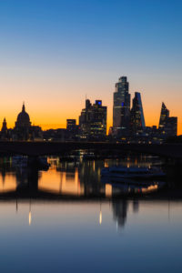 England, London, River Thames and City Skyline at Night