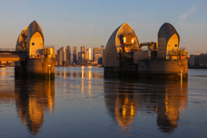 England, London, Greenwich, The Thames Barrier and River Thames