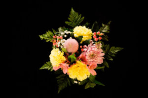 Colorful Flower Bouquet On A Black Background