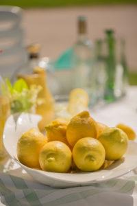 Lemons in fruit platter on a garden table
