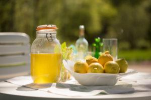 Homemade Limoncello and lemons in fruit platter