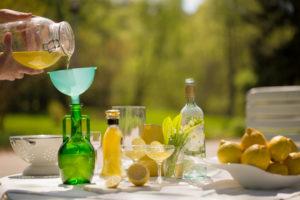 Homemade Limoncello, ready to pour into bottles