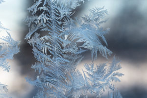Ice Crystals In Window Glass, bokeh background