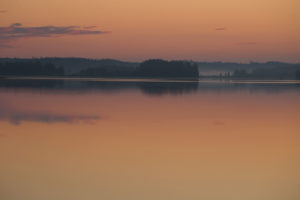 Lake landscape in the sunrise colors, Finland