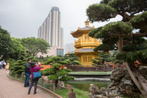 Pavilion of Absolute Perfection, Nan Lian Garden, Diamond Hill, Kowloon, Hongkong, skyscrapers on the background