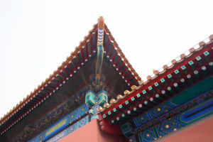 Details of the decor and colors of the roof, The Forbidden City, Beijing, China