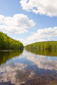 Lake Landscape, White Clouds Reflections, Summer Scenery, Finland