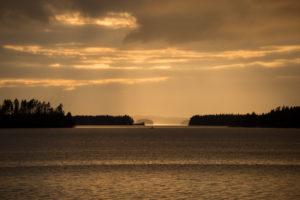Dramatic sky, lake landscape, Finland