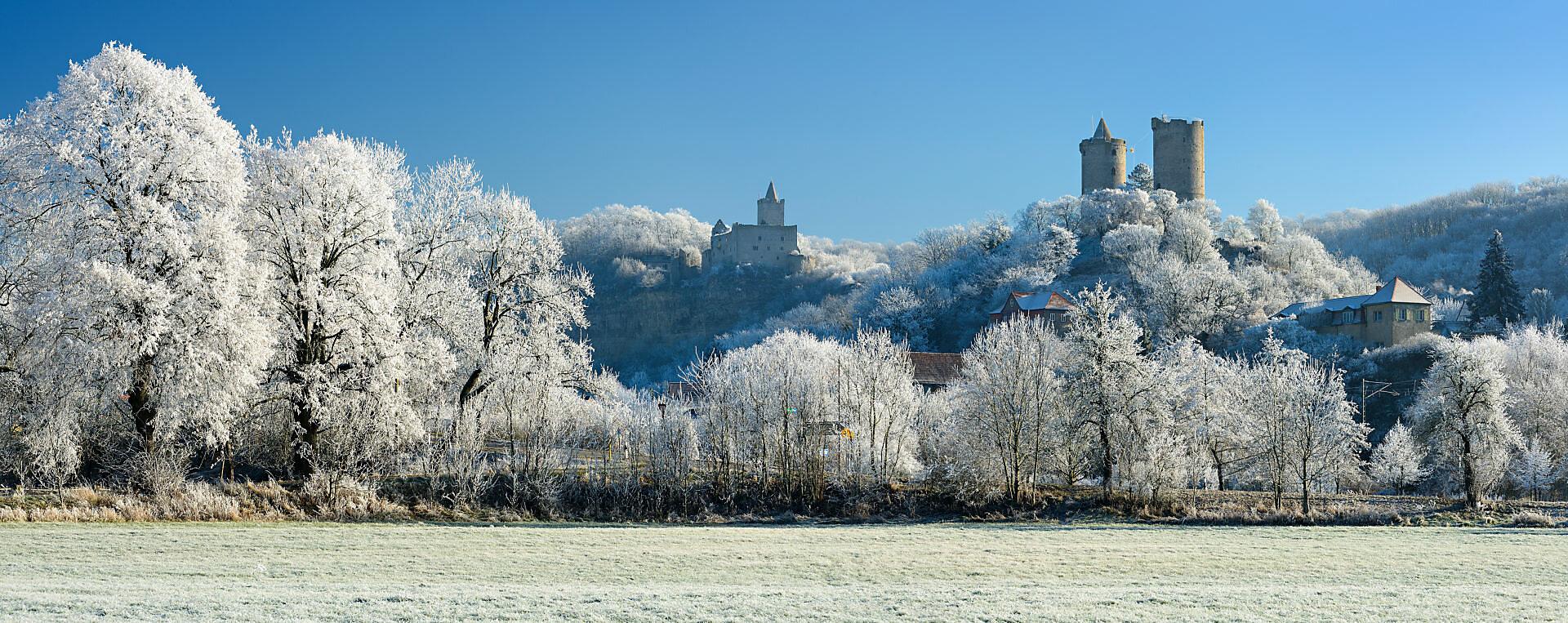 Deutschland, Sachsen-Anhalt, Burgenlandkreis, Bad Kösen, Saaletal, Ruine Rudelsburg, Burg und Dorf Saaleck, Winter, Raureif