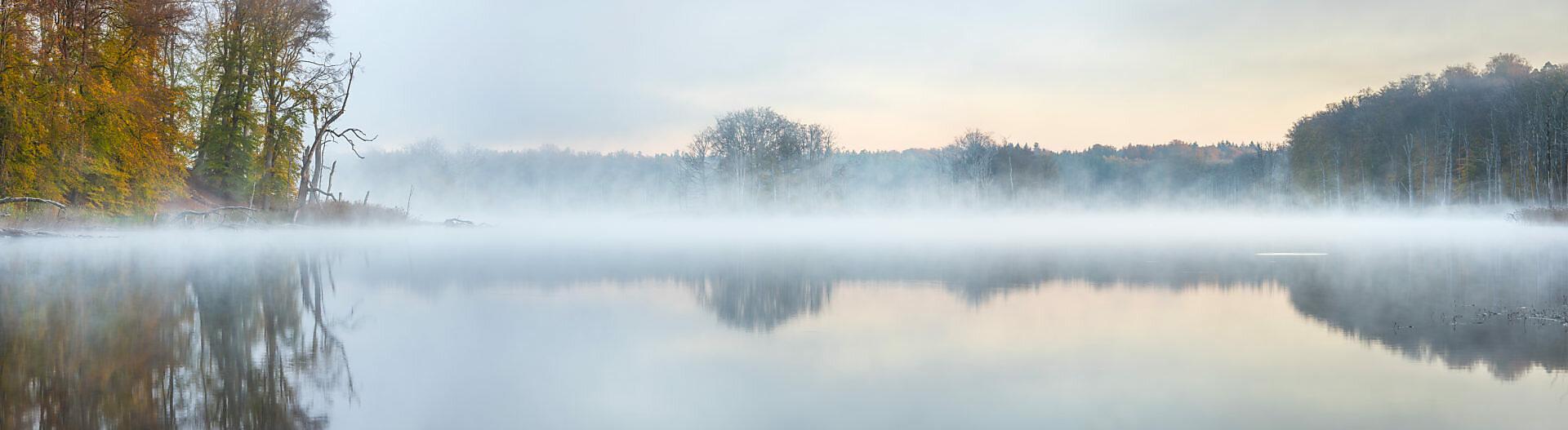 Deutschland, Mecklenburg-Vorpommern, Müritz-Nationalpark, Teilgebiet Serrahn, Morgennebel am Schweingartensee im Herbst, Panorama