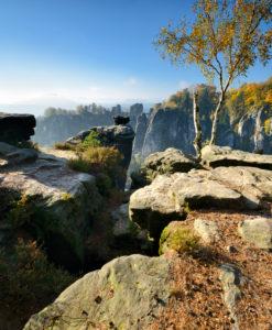 Germany, Saxony, Rathen, Elbe Sandstone Mountains, Saxon Switzerland National Park, view of Bastei Bridge in autumn