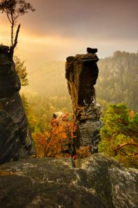Germany, Saxony, Rathen, Elbe Sandstone Mountains, Saxon Switzerland National Park, view of 'Wehlnadel' (rock needle), morning light