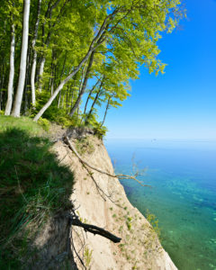 Germany, Mecklenburg-Western Pomerania, Rügen Island, Jasmund National Park, beech forest on the edge of the cliff, view of the Baltic Sea