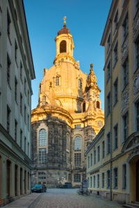 The Frauenkirche (Church of Our Lady)  in the first morning light, Old Town of Dresden, Saxony, Germany