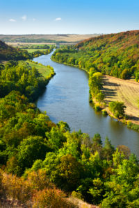 View of the river Saale, autumn landscape, nature park 'Unteres Saaletal', Lower Saale Valley, Saxony-Anhalt, Germany