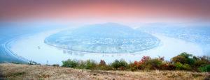 Panorama, Rheinschleife Bopparder Hamm, Morgendämmerung, UNESCO-Welterbe Oberes Mittelrheintal, Boppard, Rheinland-Pfalz, Deutschland