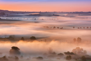 Cultural landscape at sunrise, morning fog glows in the first light, Unstruttal, Freyburg (Unstrut), Saxony-Anhalt, Germany