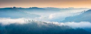 Hügellandschaft mit Nebel an der Hohenwartetalsperre bei Sonnenaufgang, Obere Saale, Naturpark Thüringer Schiefergebirge, Thüringen, Deutschland