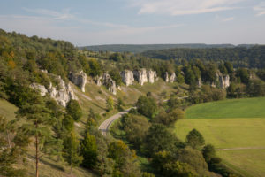 12 Apostels rock formation in the  Altmühl valley nature park close to Solnhofen in Bavaria, Germany.