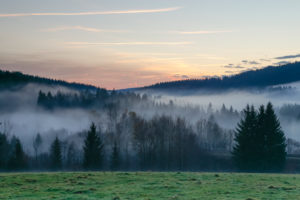 Autumnal evening mood with fog in the valley of the Bavarian Forest National Park close to Frauenau.