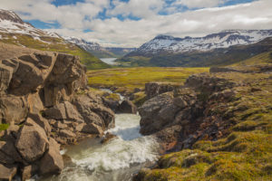 Rapids of the river Fossa i Pjorsardal, close to the Haifoss waterfall, Iceland