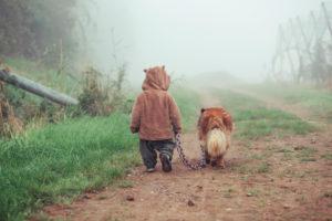 Kleinkind geht mit Hund im Nebel spazieren