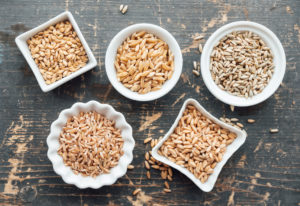 Ancient grains in bowls