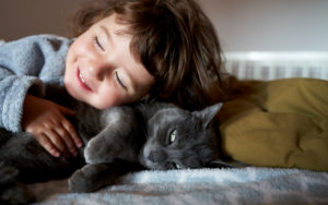 Portrait of happy toddler girl cuddling grey cat lying on bed