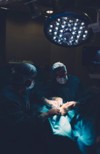 Surgeons during a foot surgery