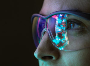 Reflection of a circuit board on glasses
