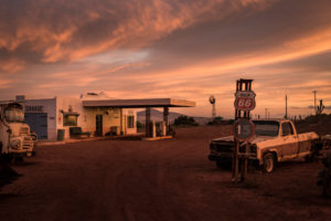 Abandoned gas station and garage at sunset, Cape Town, South Africa