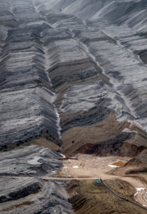 Germany,North Rhine-Westphalia,Hambach,High angle view of overburden of lignite open-pit mine